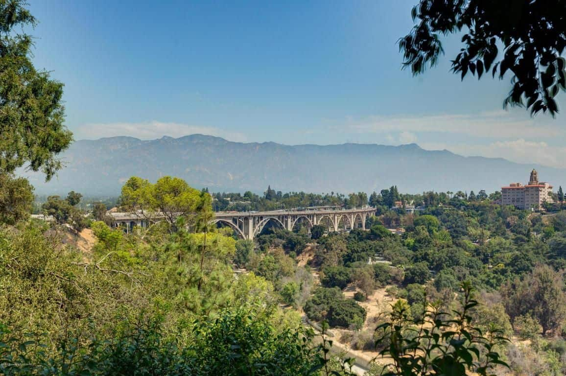 The aerial view from the mansion offers a jaw-dropping view of San Gabriel Mountains.