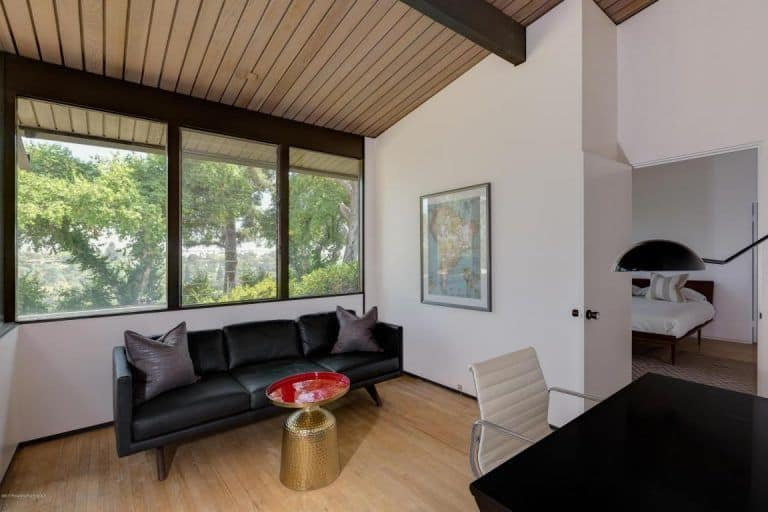 A Home Office Is Just Beside The Master Bedroom, Featuring A Wide Glass  Window And. Trulia · Tiny Midcentury ...