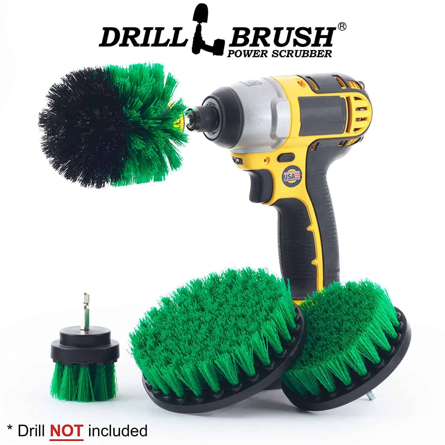 Bathroom cleaning scrub brush with four different sizes and shapes of brushes.