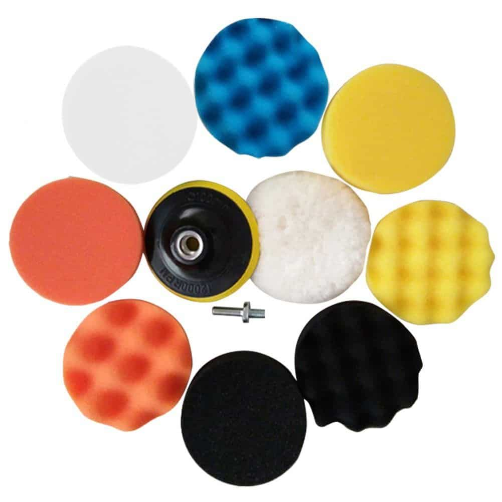Drill buffing pads with 80mm car buffer compound drill attachment kit and sponge polishing pads.