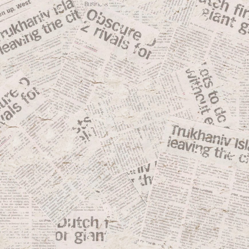 Walls covered in newspaper used as wallpaper