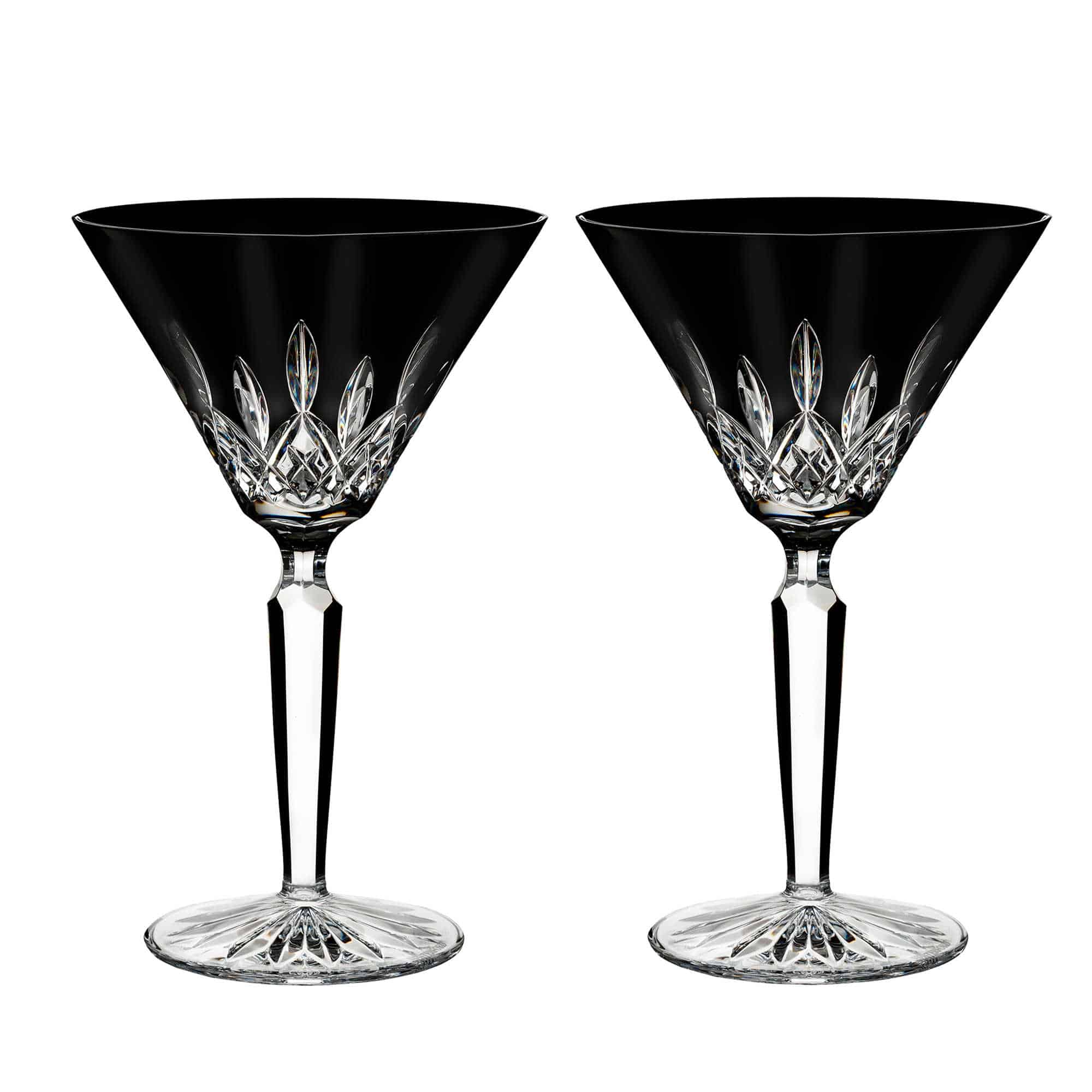 Black martini glasses with a lead crystal material.
