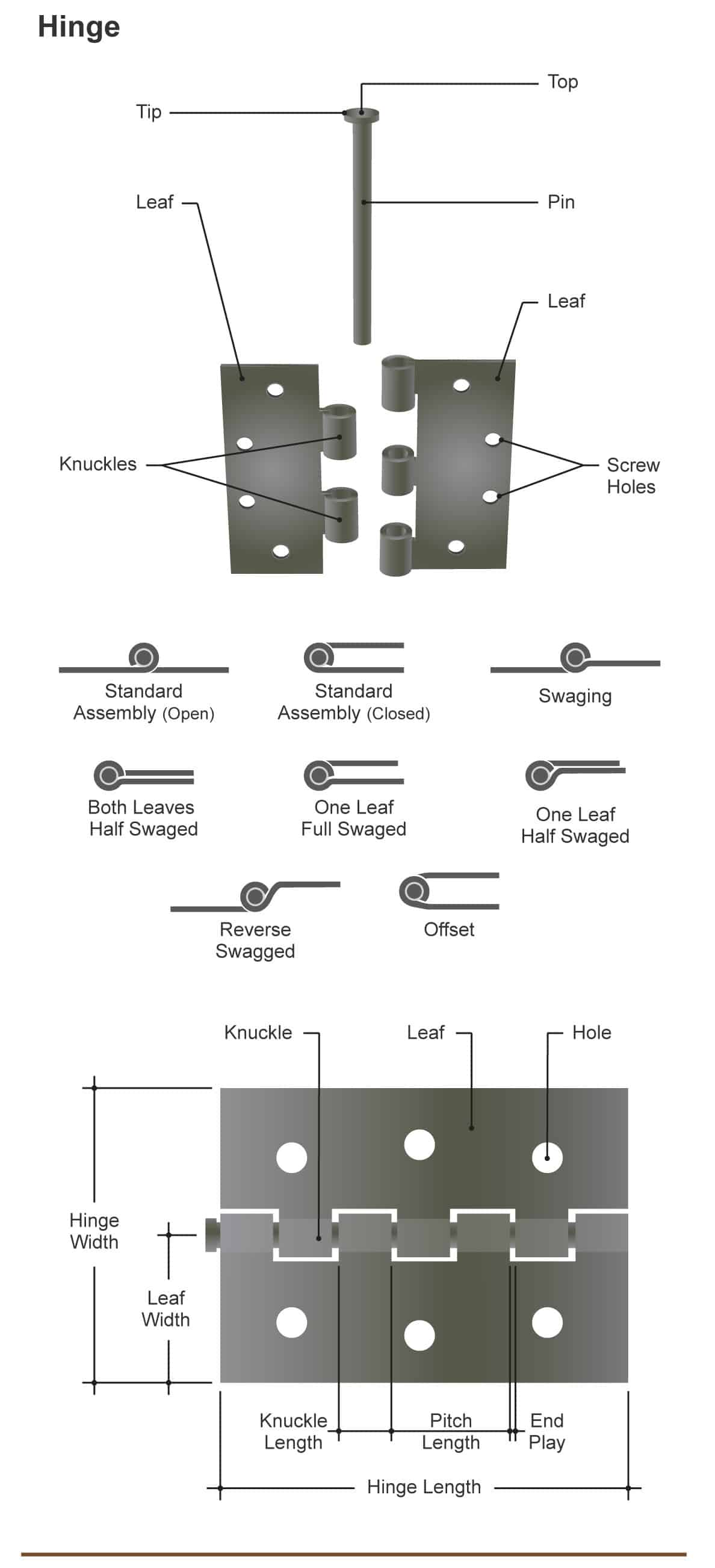 Diagram illustrating the many different parts of a door hinge and types of hinges.