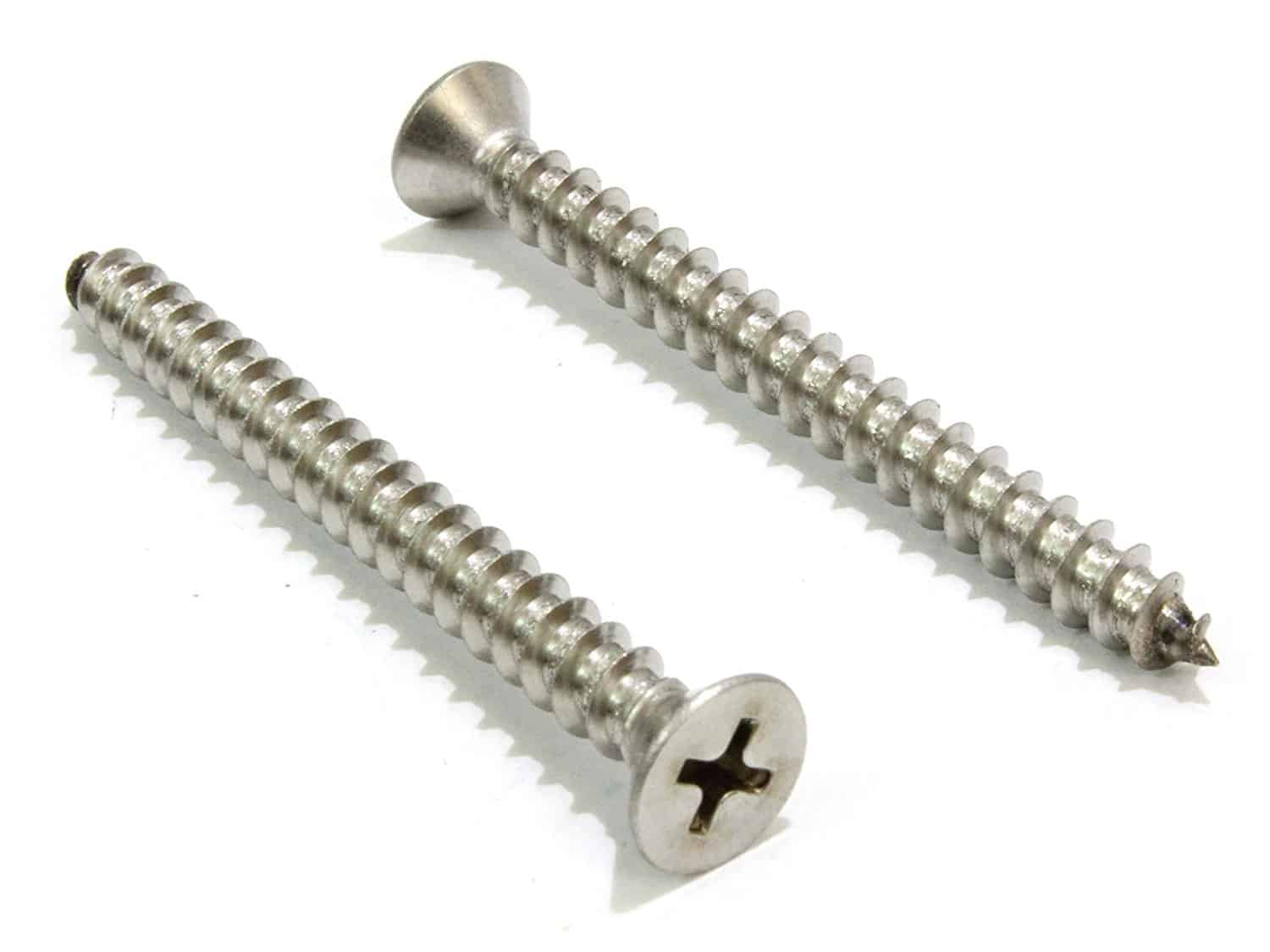 Flat head stainless Phillips screw perfect for wood.