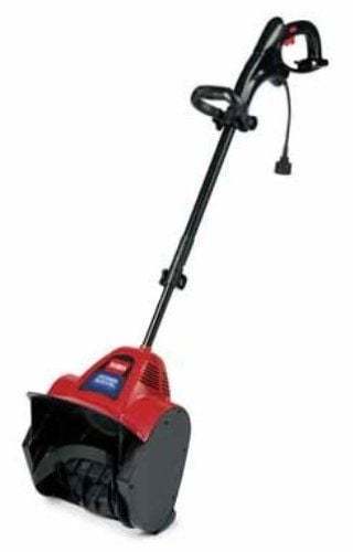 Power electric snow shovel with adjustable metal telescoping handle.