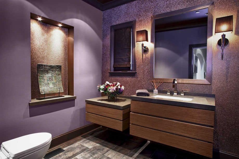 exceptional Purple And Brown Room Part - 7: Luxurious purple bathroom with floating wood vanity.