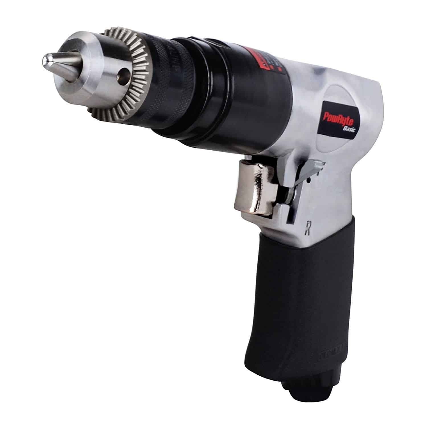 3/8-inch reversible air drill with forward/reverse switch for one-handed direction changes and exhaust.