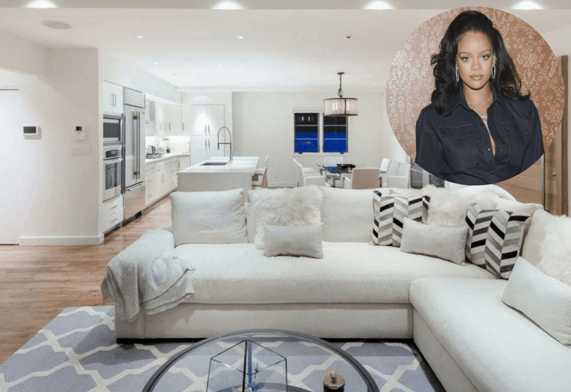 Rihanna's open concept contemporary West Hollywood interior design - kitchen, dining area and living room.