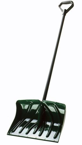 Snow shovel with wear strip and green finish.