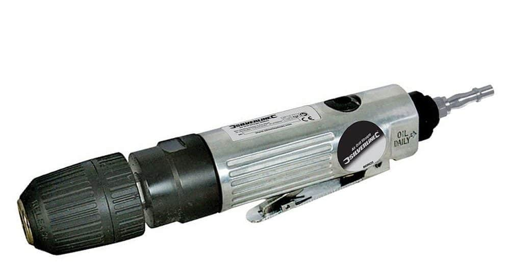 3/8-inch air drill straight with 10mm key-less chuck and lightweight compact design.