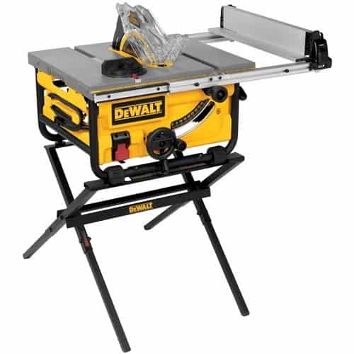 10-inch compact table saw with guarding system and stand.