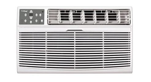 Through the wall air conditioner with digital display control panel and energy save feature together with a sleep mode and a remote control.