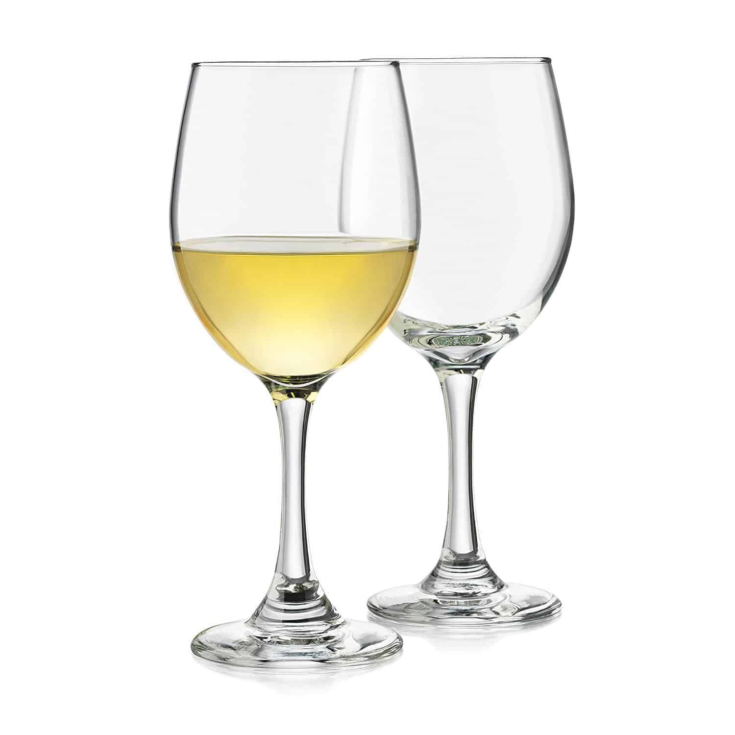 White wine glass with timeless design and dishwasher safe.
