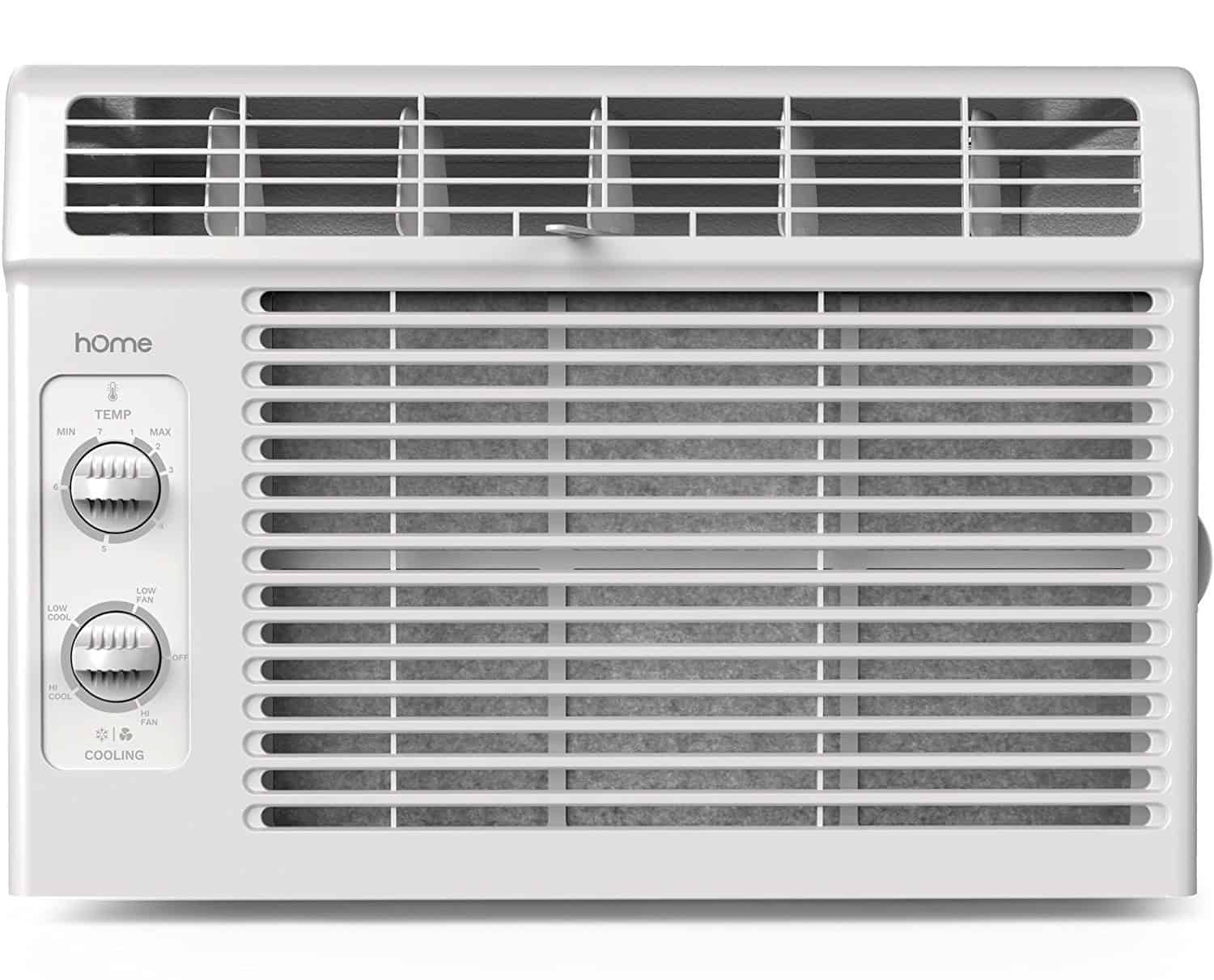 Window mounted air conditioner with compact 7-speed system and a washable filter.