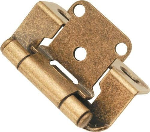 Wrap around pair door hinge in antique brass finish and self-closing feature.
