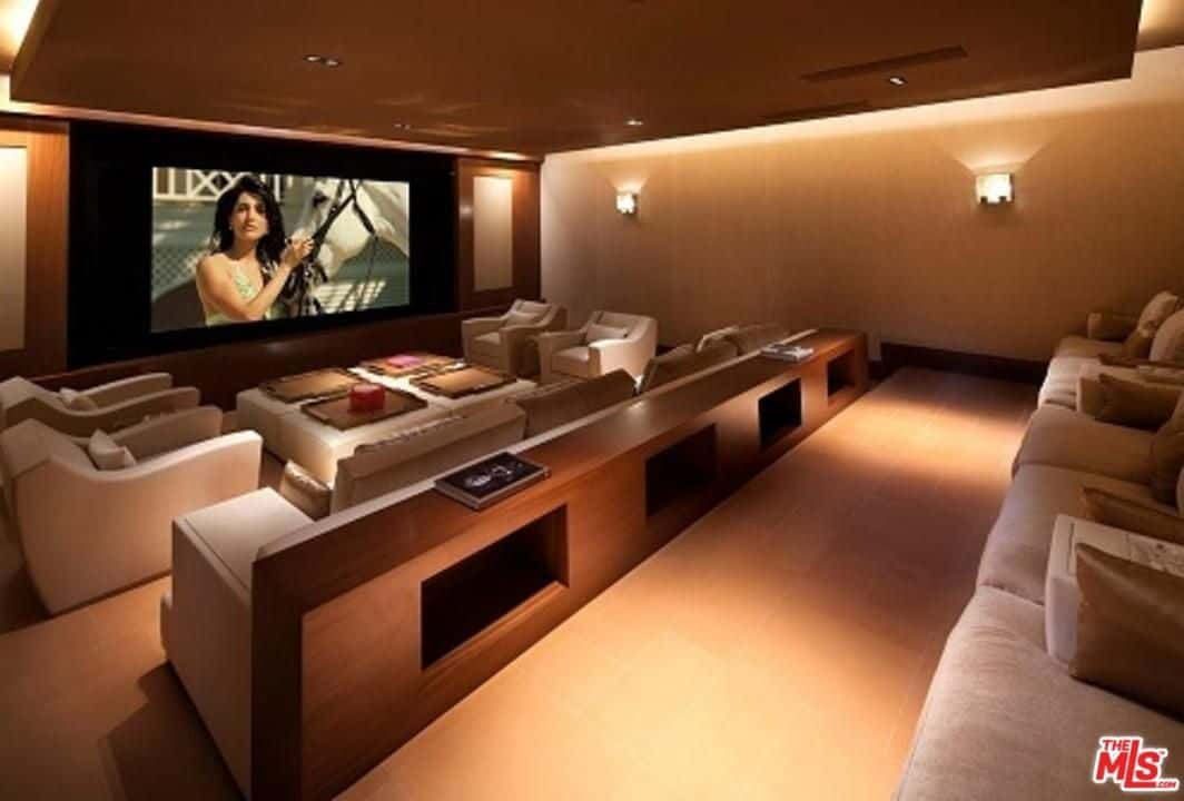 Home Media Room Ideas Part - 19: One Of The Best Features Of Ziggyu0027s Mansion Is The Home Theatre Where It  Boasts A Modern And Contemporary Chairs, Sectional Sofa And Theatre Seating.
