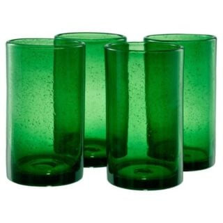 Green highball glasses