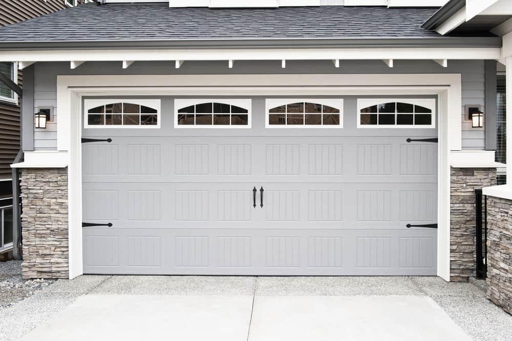 Double wide carriage style garage door.