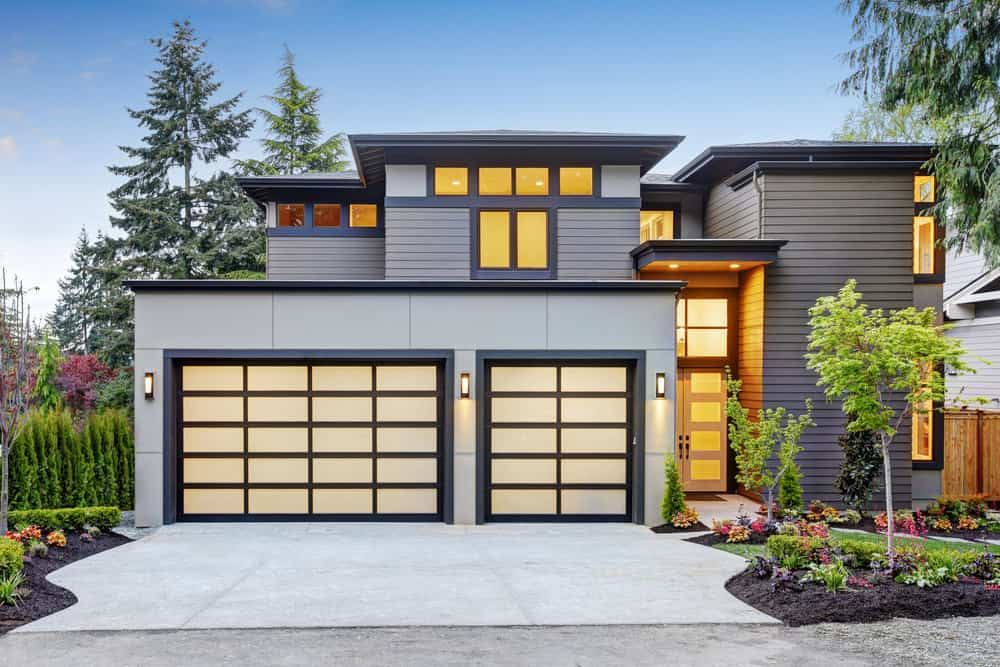 Modern home with modern aluminum transparent garage door