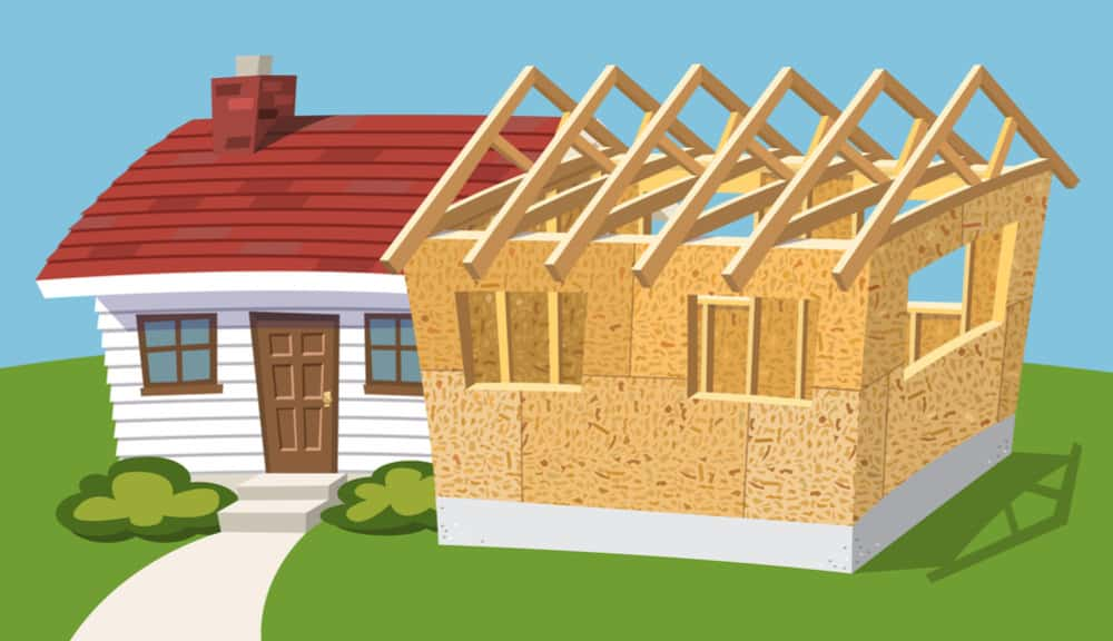Illustration of house with roof trusses