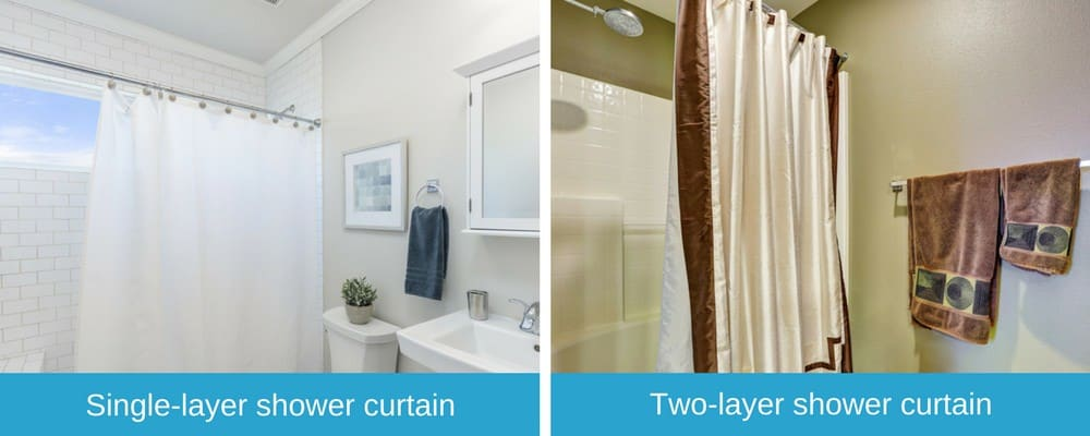 Image Comparing Single Layer And Double Shower Curtains