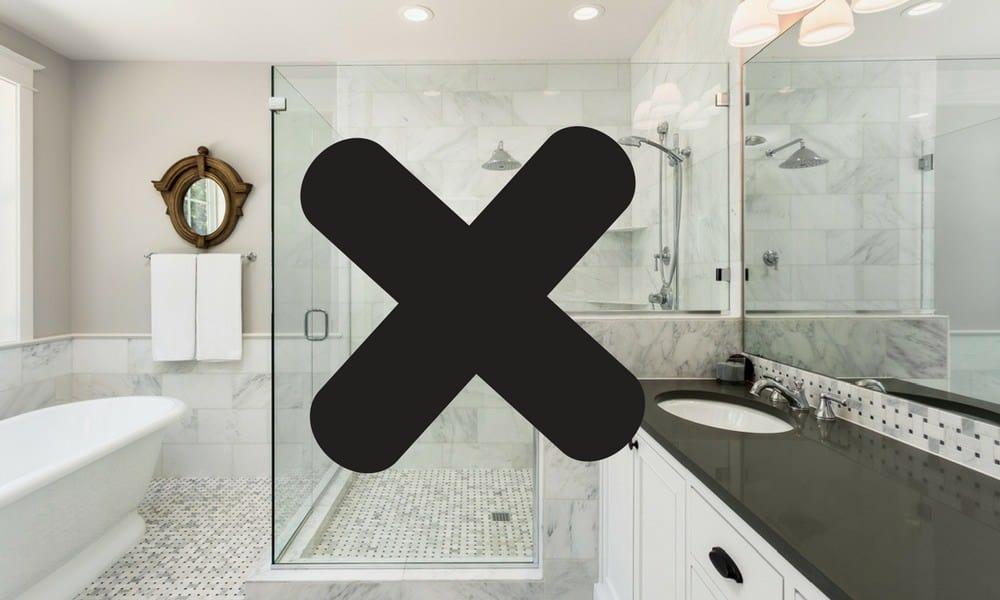 X through glass shower door suggesting alternatives to glass shower doors