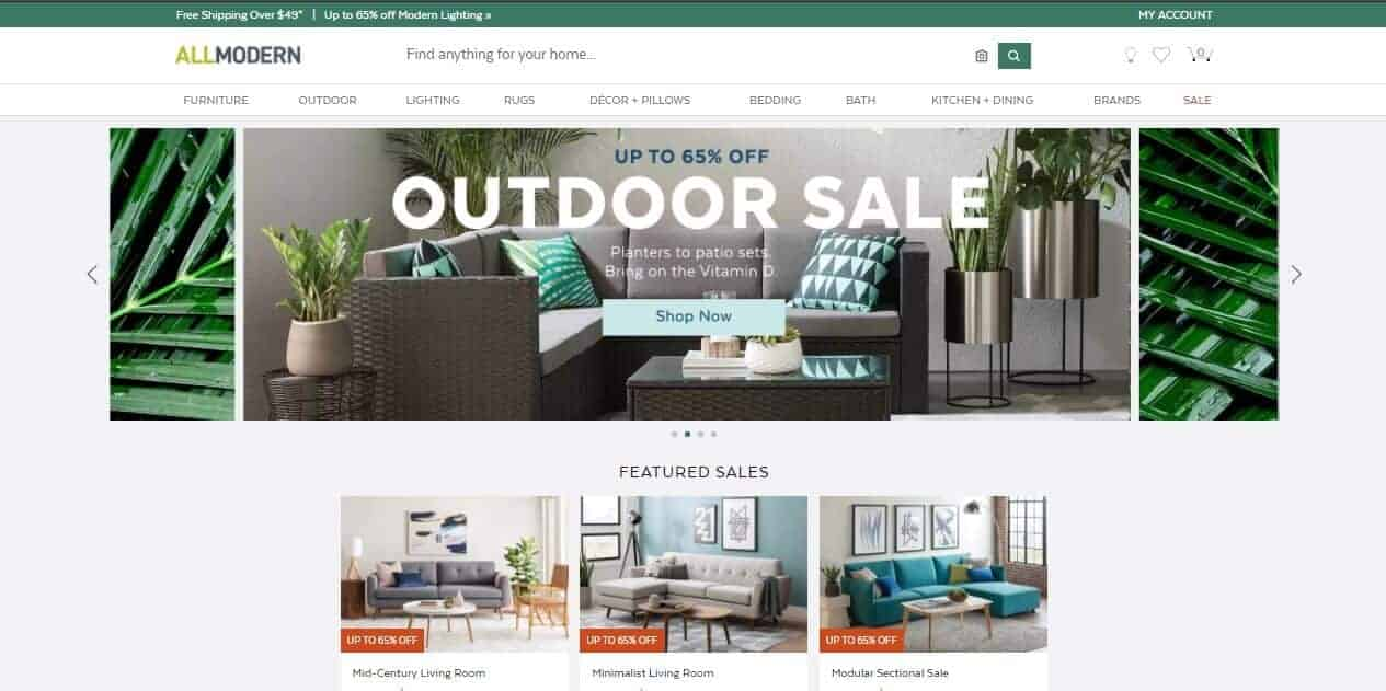 Interface of AllModern online store.