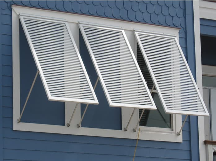 Close-up photo of aluminum bahama shutters.