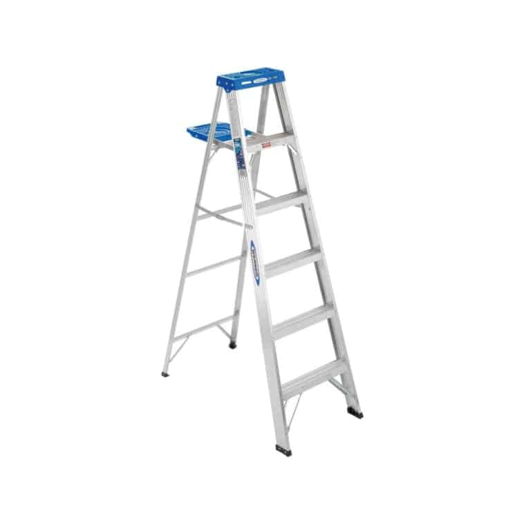 6-ft aluminum step ladder with pinch-proof spreader and non-slip tread.