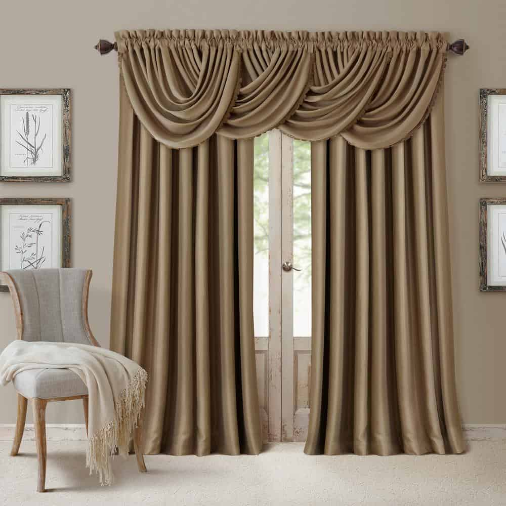 A decorative window curtain in an antique gold color for that retro vibe.