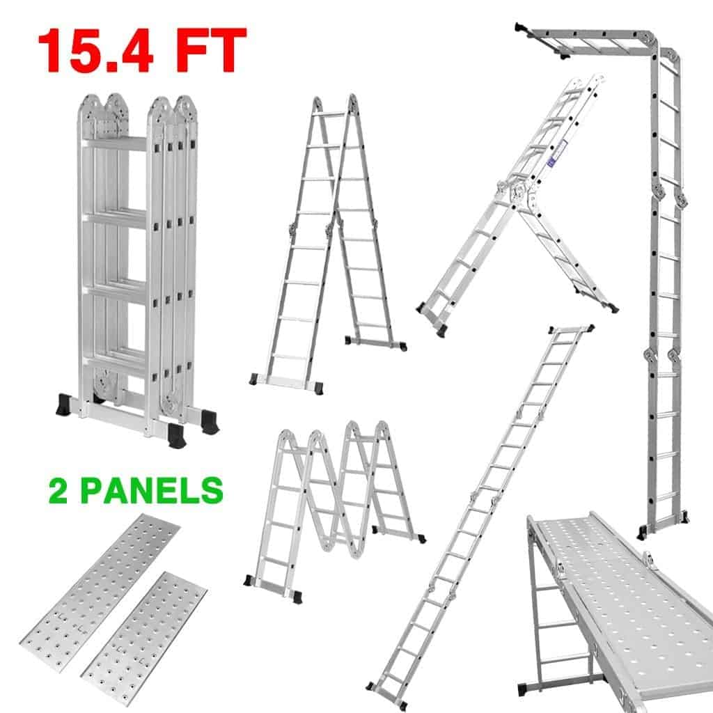 Heavy duty multi-purpose aluminum folding extension ladder with safety locking hinges.