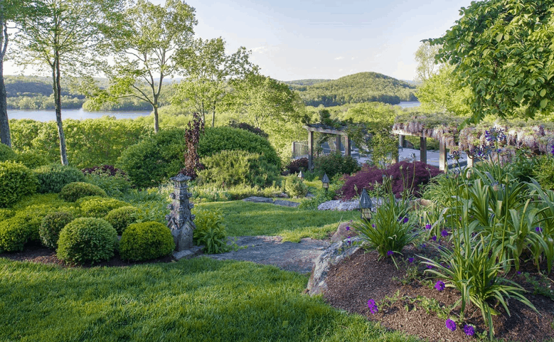 Beautiful natural landscaping on 14 acre estate in New York