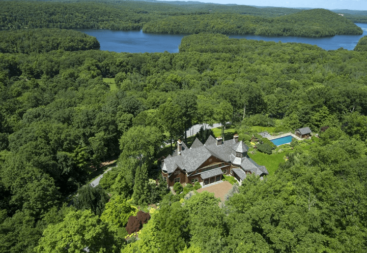 Aerial view of Bruce Willis' Bedford, NY mansion.
