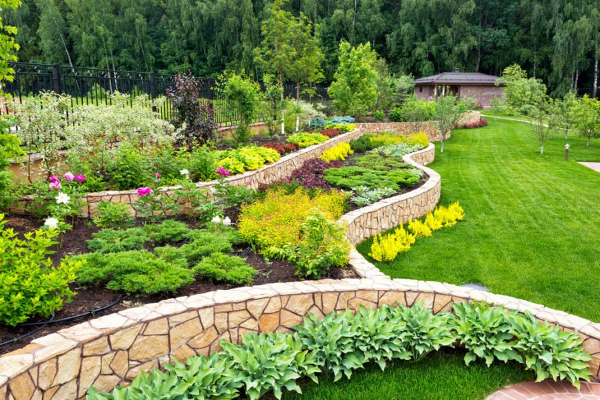 Large landscaped backyard with lawn and terraced gardens