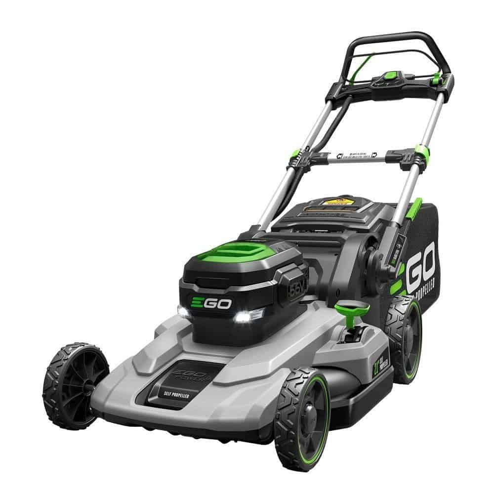 Self-propelled lawnmower with 7.5AH battery and rapid charger.
