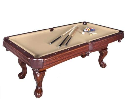 Pool table in a beige walnut color with engineered wooden frame.