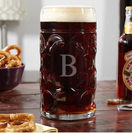 Big-sized, Oktoberfest mug with detailed designs and subtle prints.