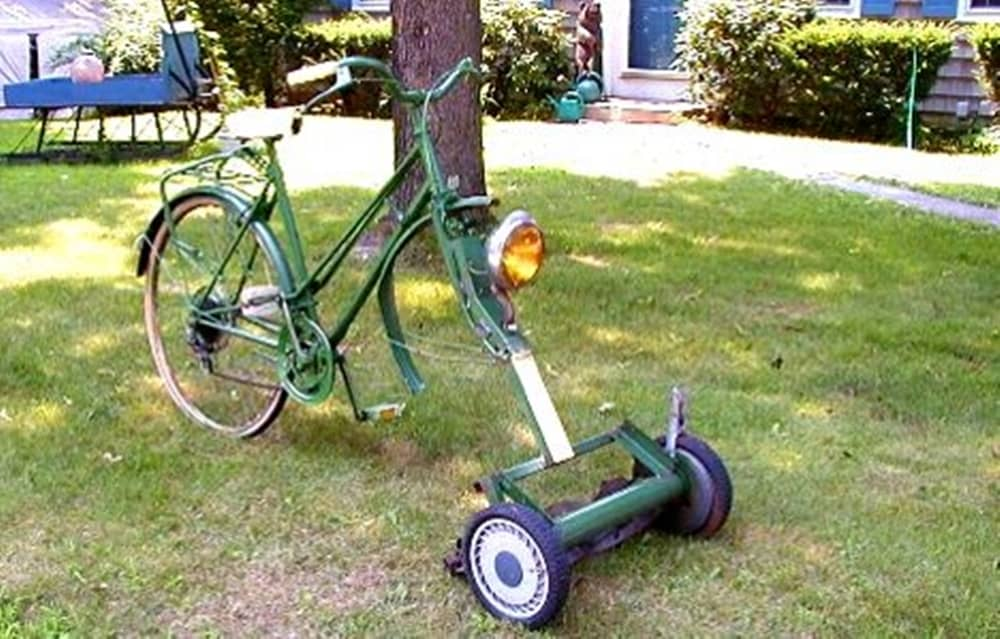 Bicycle lawnmower is a genius invention.