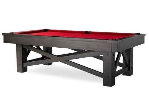 Black and red pool table with minimalistic details.