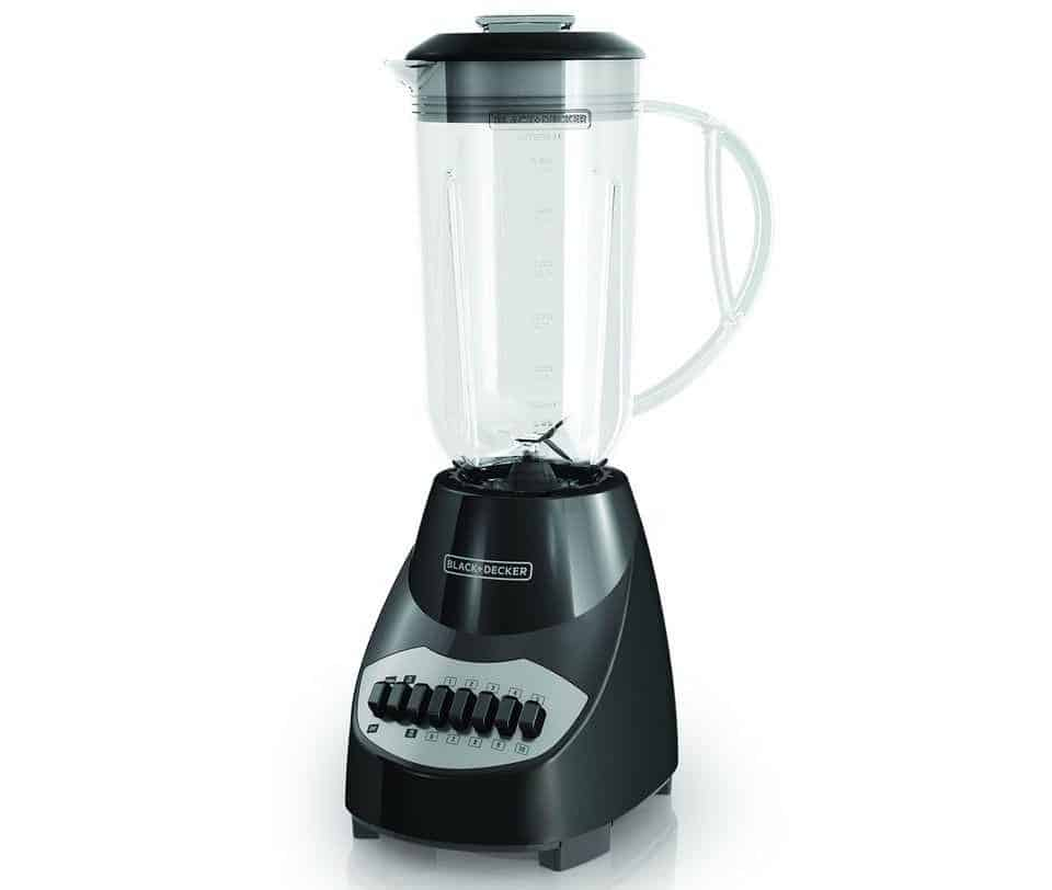 Black countertop blender by Black+Decker.