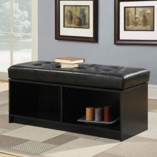 An ottoman with bench seating and storage space underneath.