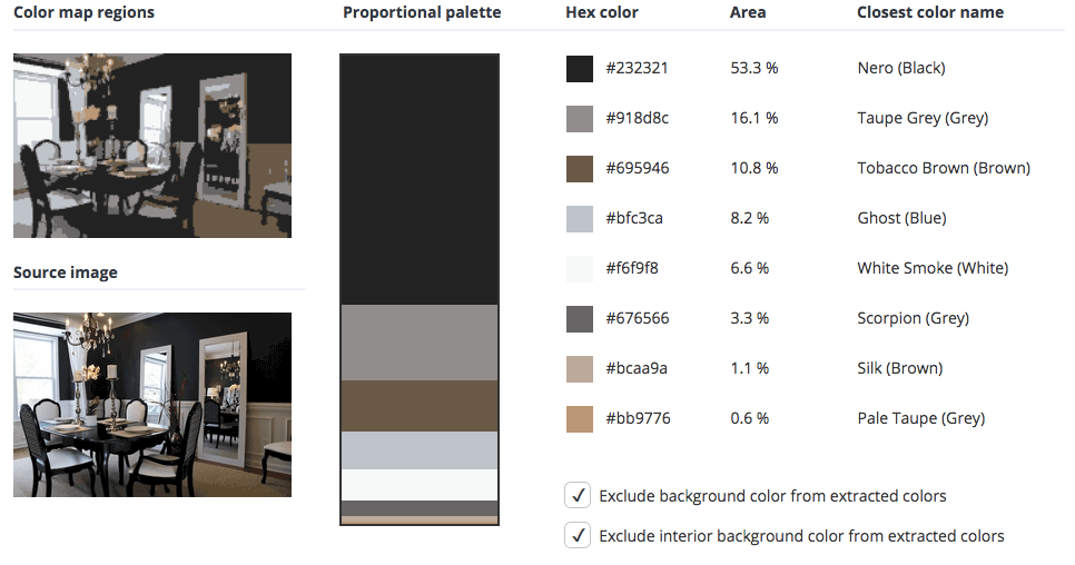 Black room combined with grey, brown and blue.