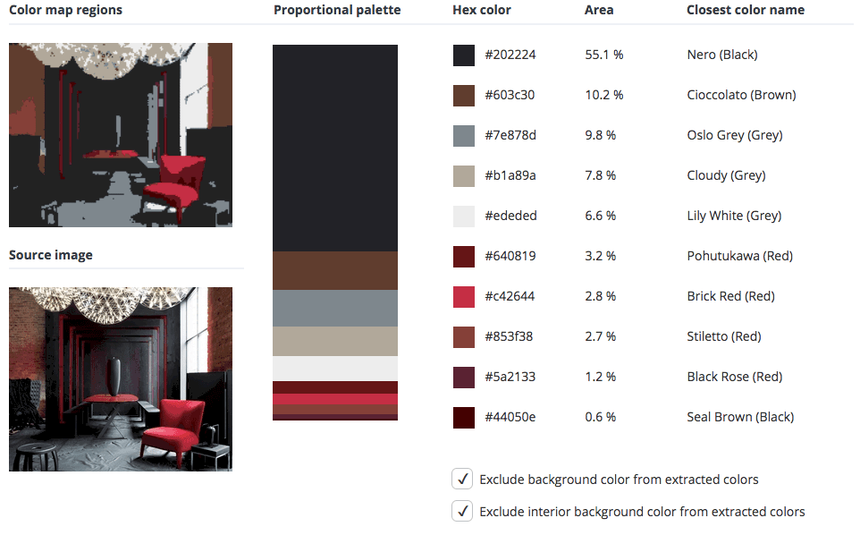 Black room combined with red, brow and grey.