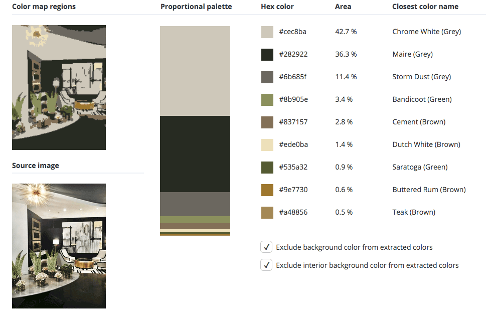 Black room combined with grey, green and brown.