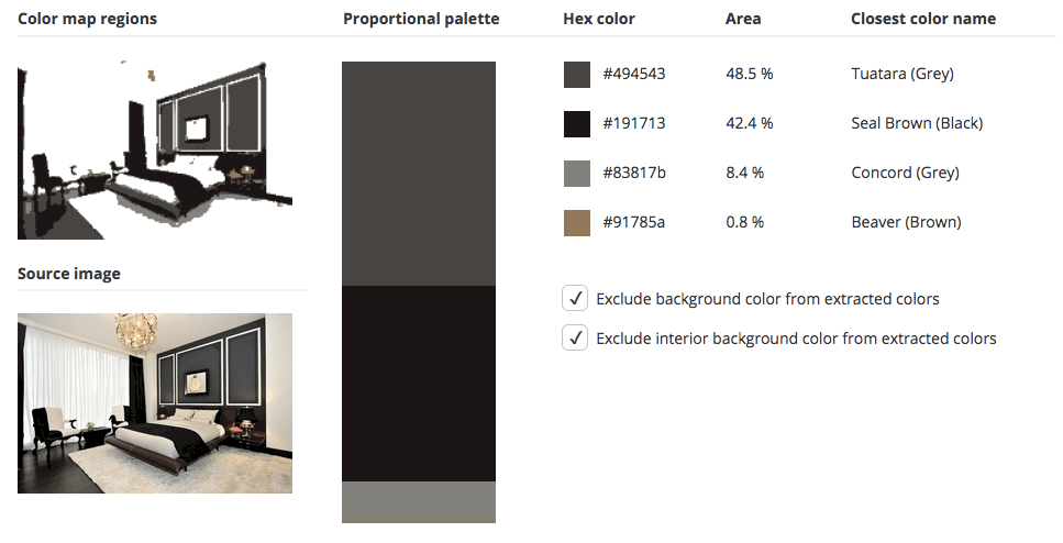 Black room combined with grey and brown.