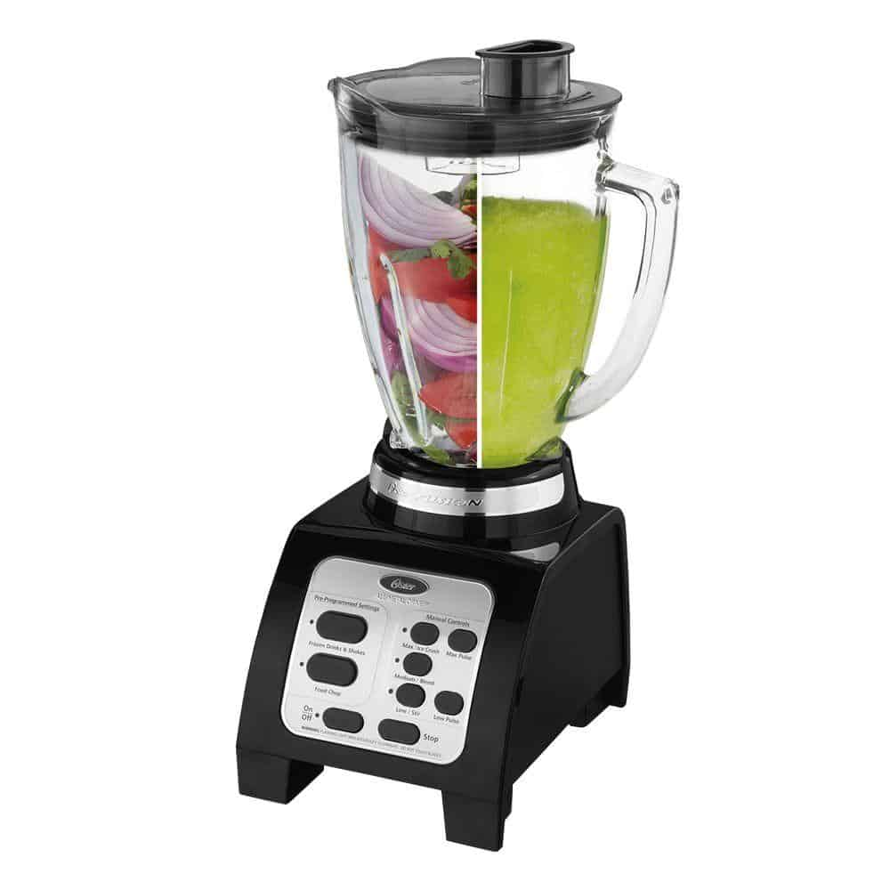 Black countertop blender by Oster.