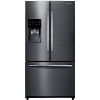 Black, stainless steel refrigerator with wheels.
