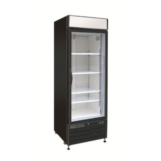 Black refrigerator with asingle glass door for commercial use.