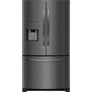 Refrigerator in a black, stainless steel finish.