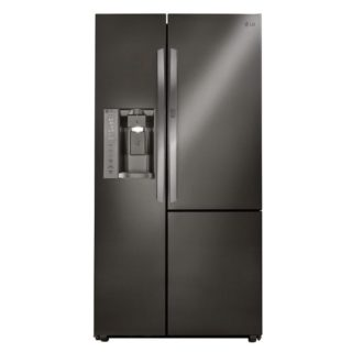 Black, stainless steel refrigerator with adjustable shelves.